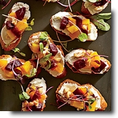 Crostini with colorful beets