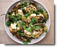 Cauliflower & Padrons with Picada Sauce